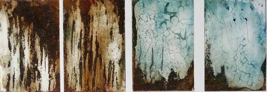Sous terre_mondes imaginaires_ Gravure sur cuivre eau forte à l'aquatinte. 5 plaques10x15cm.2018 site