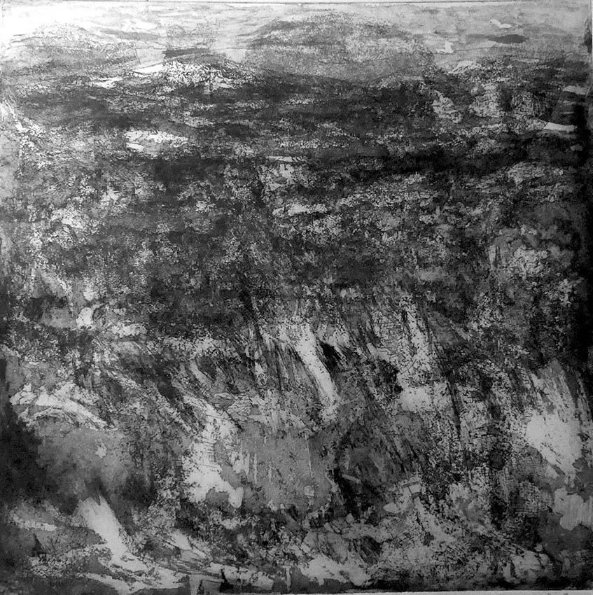 lava fields noir, 2019, 40x40cm, plaque 30x30cm site