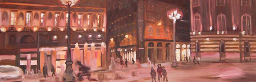 Toulouse la nuit huile 150×50 cmsite