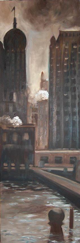le New York de Stieglitz3 huile sur toile 150x50cmsite